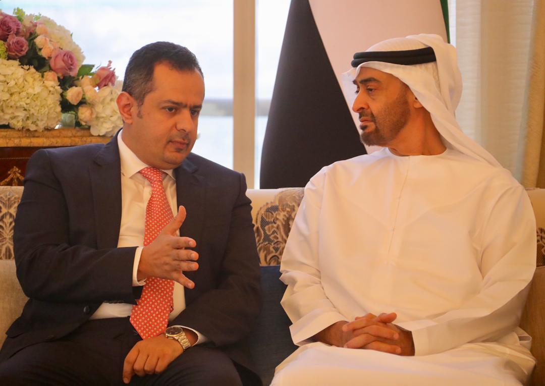 رئيس الوزراء اليمني يبحث مع ولي عهد أبوظبي مجالات التعاون ودعم الاقتصاد