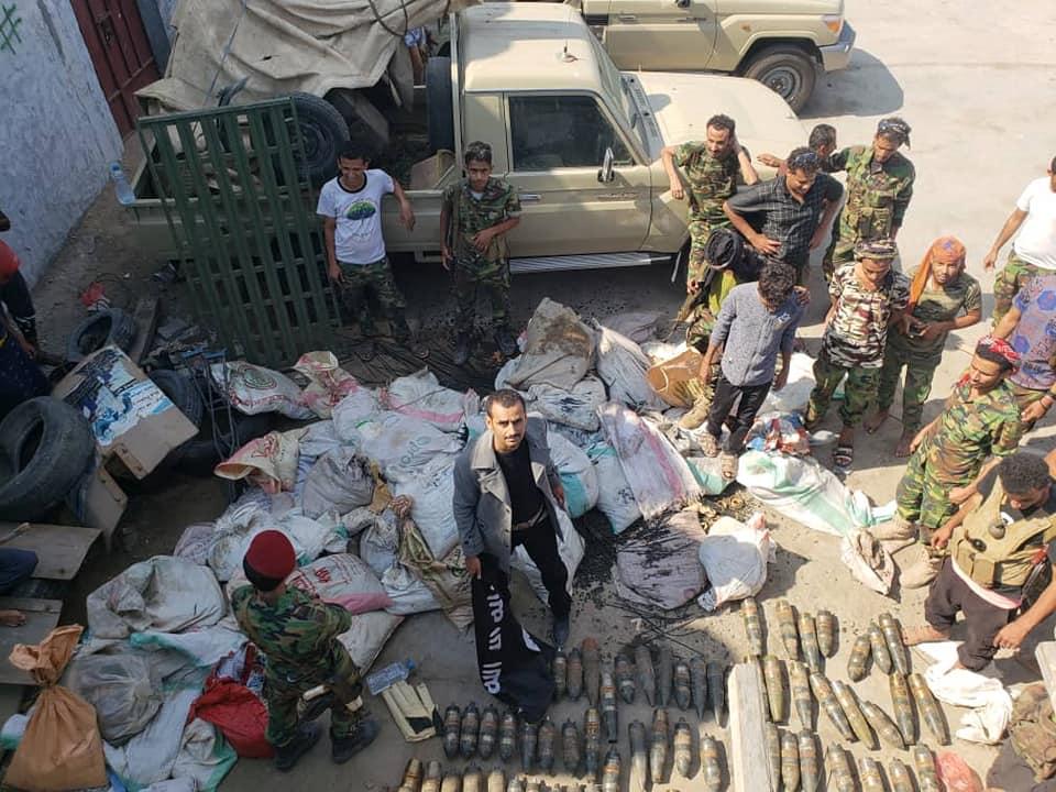 أمن عدن يكشف تفاصيل مهمة عن نوعية الأسلحة التي تم ضبطها في مخزن البريقة (صور)